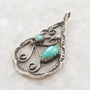 Jewelry - Vintage 925 Turquoise Native American Scroll